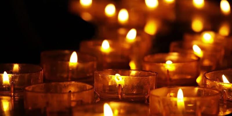 tea lights candles inside church